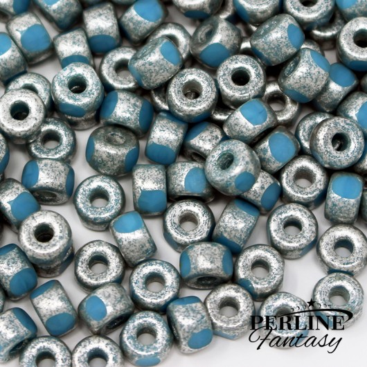 Matubo 3 Cut 2/0 Opaque Blue Turquoise Old Matte Silver