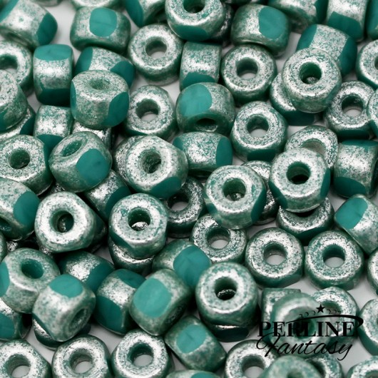 Matubo 3 Cut 2/0 Opaque Green Turquoise Old Matte Silver
