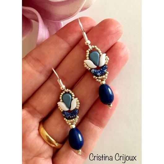 Kit Orecchini 'Mini Tulipano' Versione Tweedy Blue