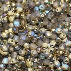 Mezzi Cristalli 4 Mm Crystal Etched Golden Rainbow