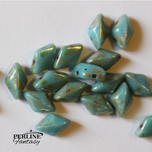 Perline GemDuo Turquoise Blue Picasso
